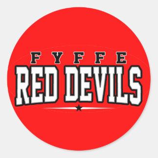 High School secundaria de Fyffe; Diablos rojos Etiquetas Redondas