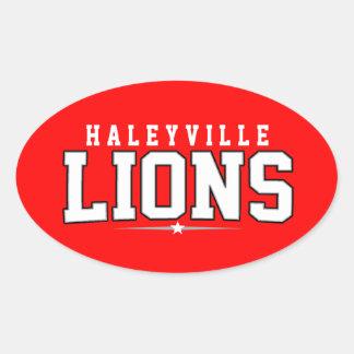 High School secundaria de Haleyville; Leones Calcomania Óval Personalizadas