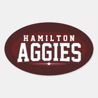 High School secundaria de Hamilton; Aggies Calcomanías De Ovales