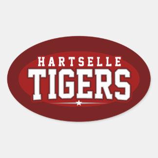 High School secundaria de Hartselle; Tigres Calcomania De Óval