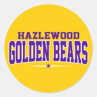 High School secundaria de Hazlewood; Osos de oro Pegatinas Redondas