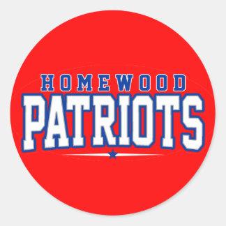 High School secundaria de Homewood; Patriotas Pegatina Redonda
