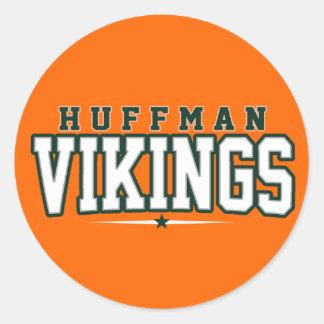 High School secundaria de Huffman; Vikingos Etiqueta Redonda