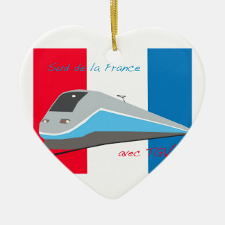 High Speed Rail Travel Double-Sided Heart Ceramic Christmas Ornament
