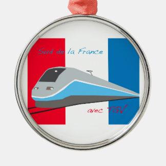 High Speed Rail Travel Round Metal Christmas Ornament