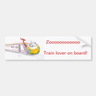 high speed train cartoon & guinea pig giraffe bumper sticker