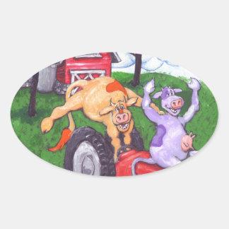 High Spirited Cows Oval Sticker