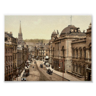 High Street, Bath, England vintage Photochrom Poster
