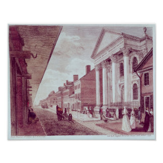 High street with the first Presbyterian Church Poster