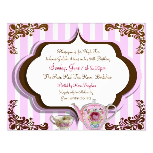 Personalized Afternoon high tea Invitations – Afternoon Tea Party Invitation