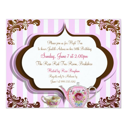 High Tea Birthday Invitations Front And Back Zazzle