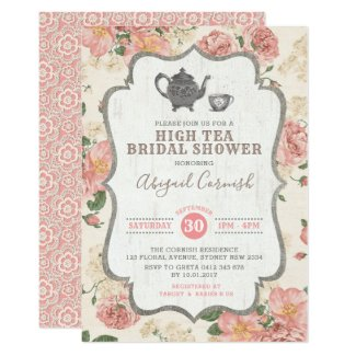 High Tea Bridal Shower Vintage Pink Floral Wedding Invitation