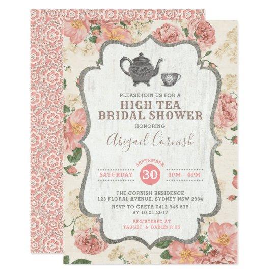High Tea Bridal Shower Vintage Pink Fl Wedding Invitation