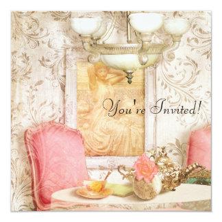 """High Tea Party Invitation. Shabby Chic, Victorian. 5.25"""" Square Invitation Card"""
