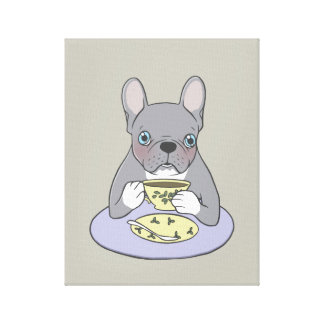 High Teas with Cute Blue Brindle Frenchie Canvas Print