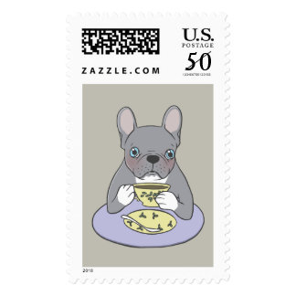 High Teas with Cute Blue Brindle Frenchie Postage