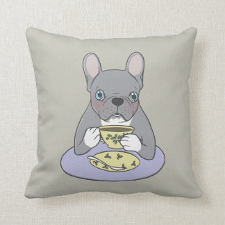 High Teas with Cute Blue Brindle Frenchie Throw Pillow