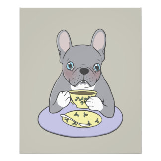 High Teas with Sweet and Cute Blue Brindle French Photo Print