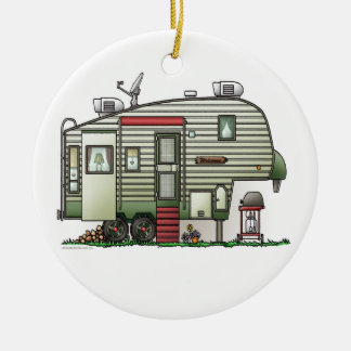 High Tech 5th Wheel Double-Sided Ceramic Round Christmas Ornament