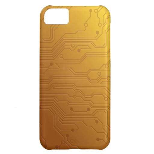High Tech Circuit Board Gold iphone cases Case For iPhone 5C