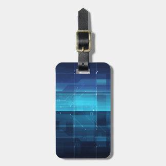 High tech digital background luggage tag
