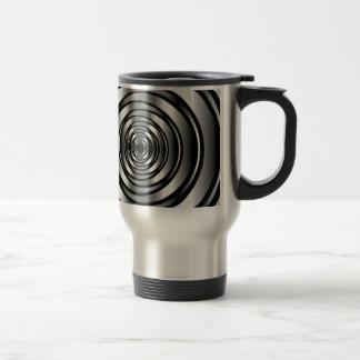 High tech metallic ring background travel mug