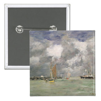 High Tide at Trouville, c.1892-96 (oil on panel) 2 Inch Square Button