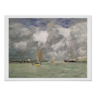 High Tide at Trouville, c.1892-96 (oil on panel) Poster