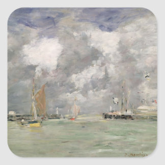 High Tide at Trouville, c.1892-96 (oil on panel) Square Sticker