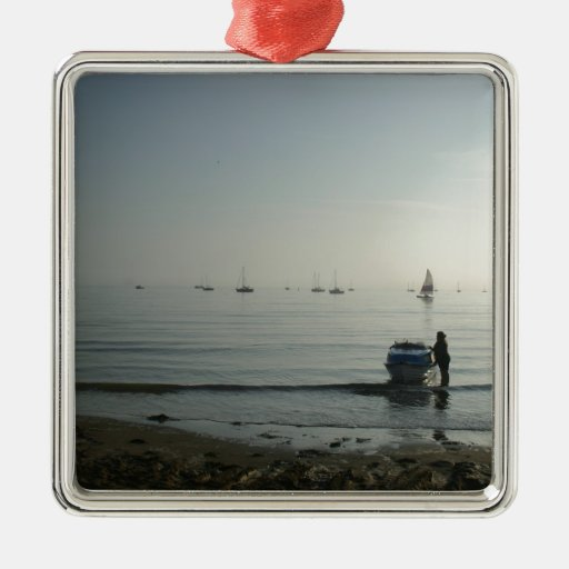 High tide, early dawn square metal christmas ornament