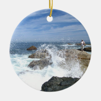 High Tide Fishing Double-Sided Ceramic Round Christmas Ornament