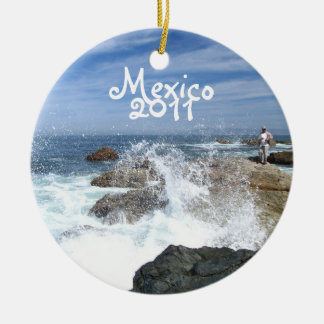 High Tide Fishing; Mexico Souvenir Double-Sided Ceramic Round Christmas Ornament