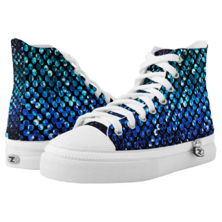High Top Shoes Crystal Bling Strass Printed Shoes