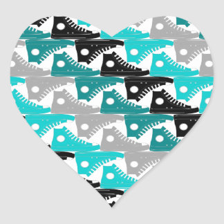 High Tops Teal-n-Black Shoes Heart Sticker