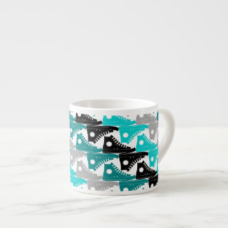 High Tops Teal-n-Black Espresso Cups