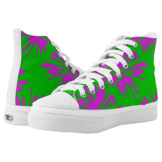 High Tops with Modern Green Pink Splash Design