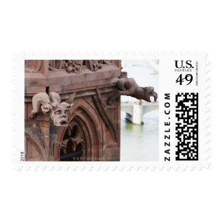 High view of pair of gargoyles over Basel from Postage