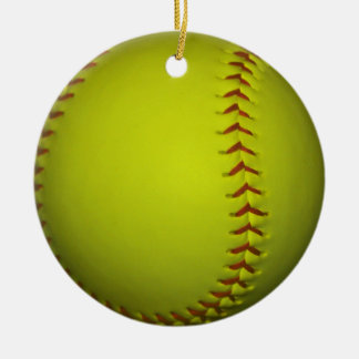 High Visibility Yellow Softball Double-Sided Ceramic Round Christmas Ornament