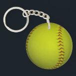 "High Visibility Yellow Softball Keychain<br><div class=""desc"">Neon dayglo yellow softball.</div>"