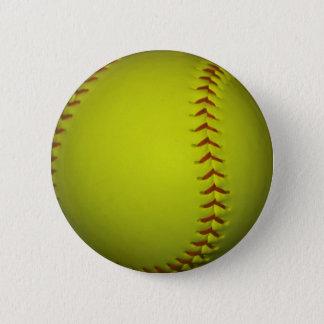 High Visibility Yellow Softball Pinback Button