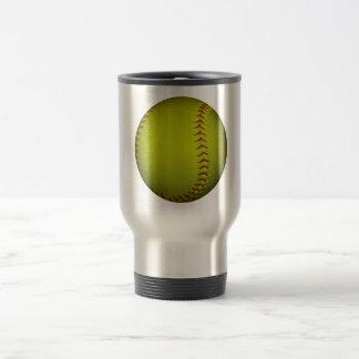 High Visibility Yellow Softball Travel Mug
