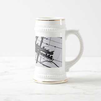 High Voltage - black and white industrial photo Beer Stein
