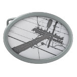 High Voltage - black and white industrial photo Oval Belt Buckle