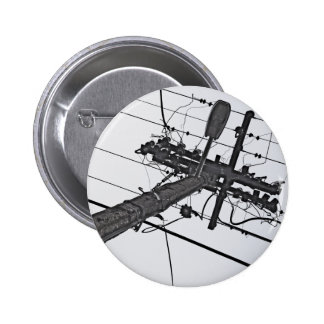 High Voltage - black and white industrial photo Button