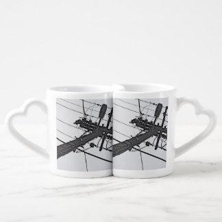 High Voltage - black and white industrial photo Coffee Mug Set