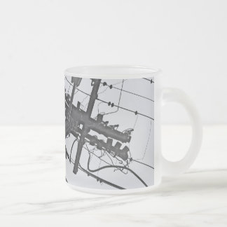 High Voltage - black and white industrial photo Frosted Glass Coffee Mug