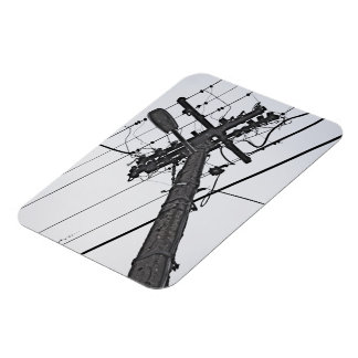 High Voltage - black and white industrial photo Magnet