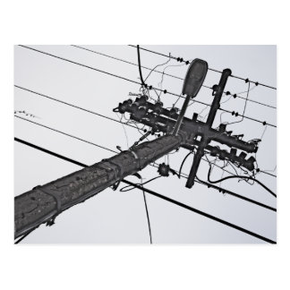 High Voltage - black and white industrial photo Postcard