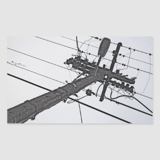 High Voltage - black and white industrial photo Rectangular Sticker