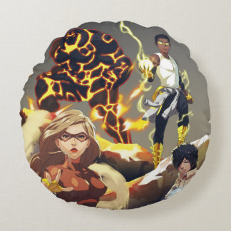 High Voltage Heroes Round Pillow
